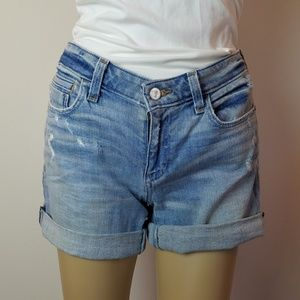 Pilcro Distressed Rollup Stet Jean Shorts